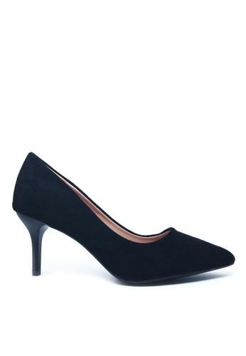 Twenty Eight Shoes 黑色 7CM尖頭絨面高踭鞋A777 EF3A9SH9A52BA8GS_1