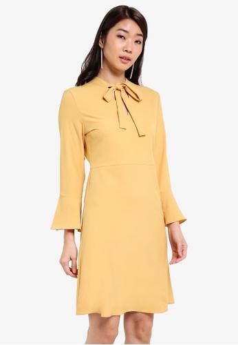 ZALORA yellow Essential Tie Front Fit & Flare Dress 9D127ZZA97CD23GS_1
