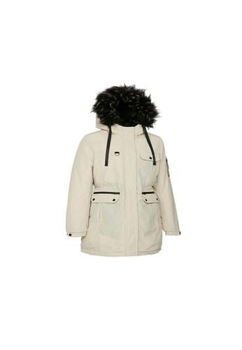 Universal Traveller beige Universal Traveller Outdoor Padded Jacket With Big Faux Fur Hood - PJW 9036 C44DAAA594574AGS_1