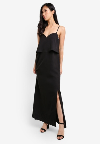 Preen & Proper black Sweetheart Layer Maxi Dress PR614AA0RZB7MY_1