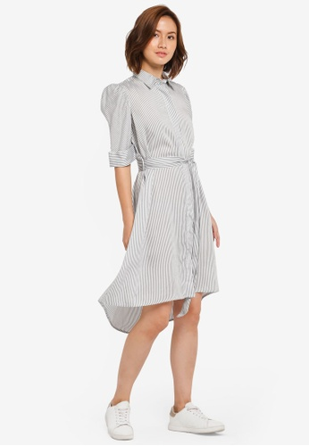 ZALORA white and multi Puff Sleeve Shirt Dress 8511EAA66F241EGS_1