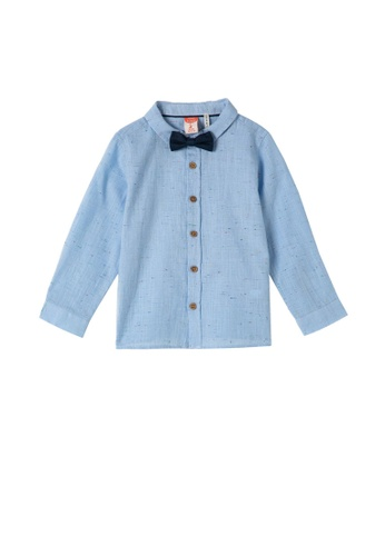 KOTON blue Bow Tie Shirt E8B59KAFDC28B6GS_1