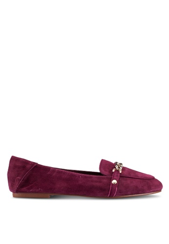 TOPSHOP purple Loco Chain Trim Suede Loafers TO412SH0RSNDMY_1