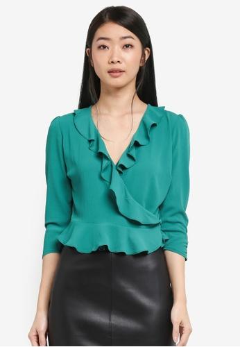Miss Selfridge green Wrap Blouse 8D7D8AA821E91BGS_1