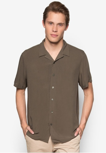 New Look brown Short Sleeve Khaki Viscose Shirt NE182AA54EGVMY_1
