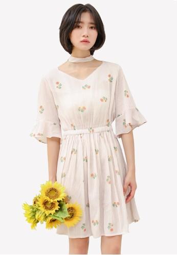 Shopsfashion pink Sun Flower Printed Choker Dress SH088AA0RWYJMY_1