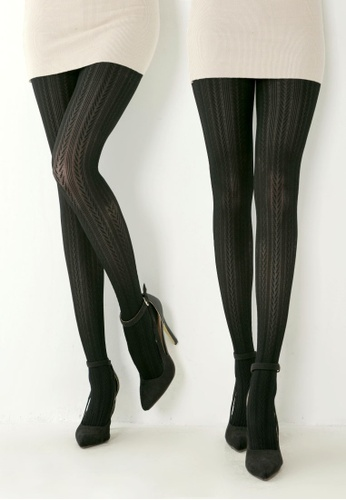99ec96b7906ee RISING STAR black 100D Black Wheat Pattern Pantyhose (Two pairs)  RI809AA01ASWHK_1