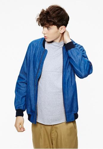 Life8 blue Denim Jacket With Zip In Light Wash-03898-Blue LI283AA0FRNUSG_1