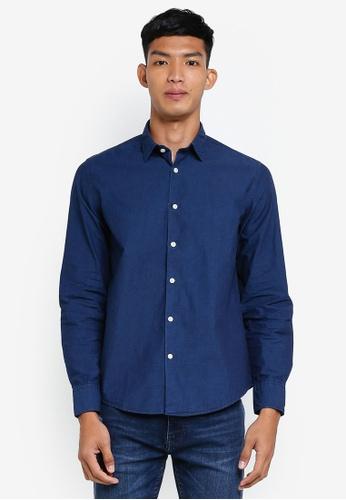 OVS 藍色 休閒長袖襯衫 9F1AAAAB9EE74BGS_1