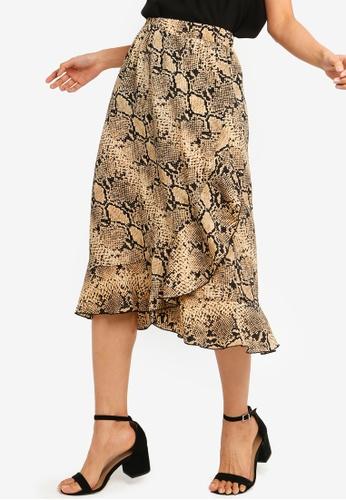 ONLY brown Ana Animal Print Wrap Frill Skirt CCDB3AA60844E2GS_1