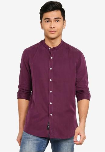 UniqTee purple Mandarin Collar Long Sleeve Shirt 58644AA6EF6025GS_1