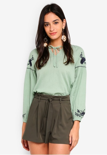 ZALORA green Puff Sleeves Top with Embroidery 868F4AA21985CEGS_1