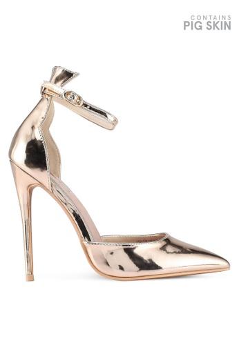 LOST INK gold Ankle Strap Stiletto Court Heels 56DFDSH35DD826GS_1
