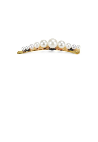 Glamorousky white Simple and Fashion Deep Tortoiseshell Imitation Pearl Geometric Hair Clip 8BD00ACCFCD010GS_1