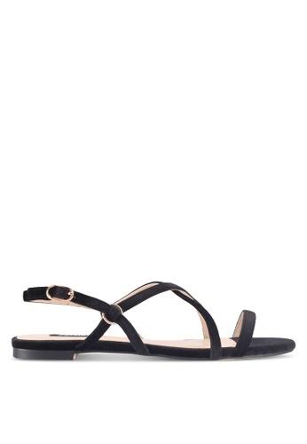 ZALORA black Strappy Velvet Sandals 4FD6ESH5A91957GS_1