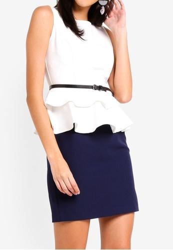 ZALORA white and multi Layered Peplum Dress 5F648AA3B2DB37GS_1