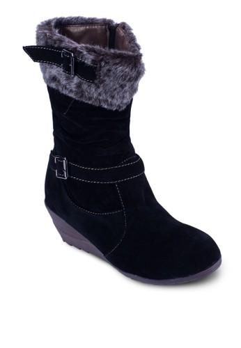 仿毛楔型跟中筒靴, 女鞋,esprit outlet hong kong 鞋