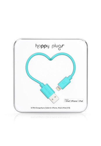 happy plugs green and blue Happy Plugs Lightning to USB Charge/Sync Cable (2.0m) - Turquoise 94CB7ACE3AD0E0GS_1