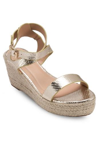 亮面踝帶麻編楔形涼鞋esprit taiwan, 女鞋, 鞋