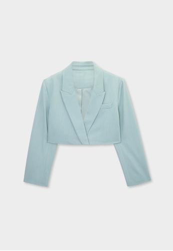 Pomelo blue Cropped Single Button Blazer - Blue 2F36DAA461FB99GS_1