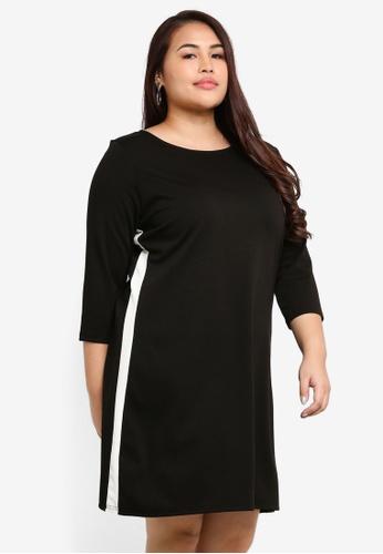 Only CARMAKOMA black Plus Size Jennifer 3/4 Mini Dress DB0E8AAE5D36B7GS_1