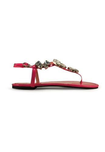 Gripz pink Crystfly Jewel Thong Sandals GR357SH84INZSG_1