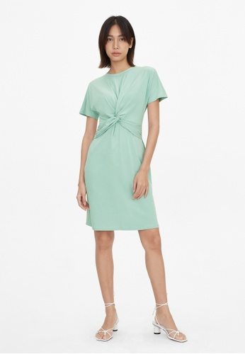 Pomelo blue Front Knot Crew Neck Dress - Mint F938CAA4954AB6GS_1