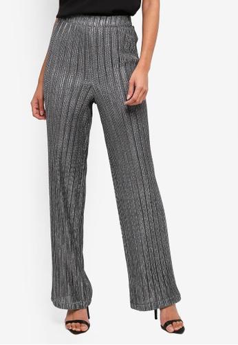 Lipsy silver Metallic Plisse Trousers 4B3DDAA4385255GS_1