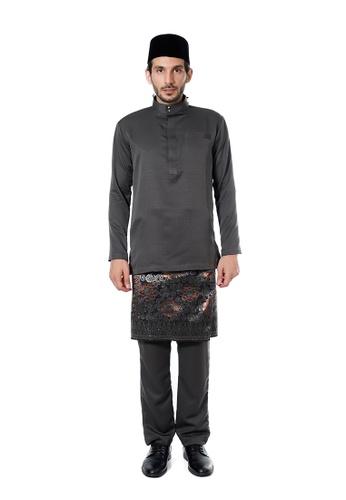 LARA NOUR grey Baju Melayu Farhan Slim Fit F225DAA7635CB2GS_1