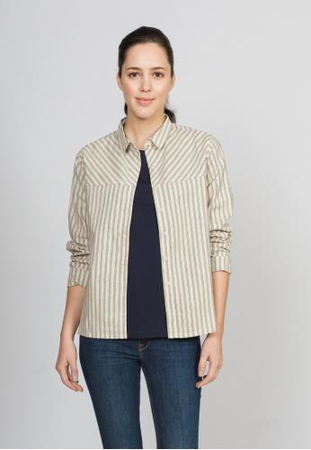 Roamers beige Roamers Ladies stripe blouse 02E60AA1608604GS_1