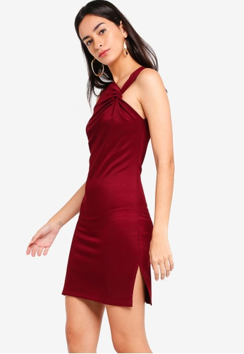 ZALORA red Asymmetrical Neck Detail Dress D95F0AA713F72AGS_1