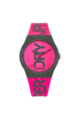 Superdry purple Superdry Urban Glitter Watch SYL189PP Pink Dial with Pink Silicone Strap DE64BACB5640EFGS_1