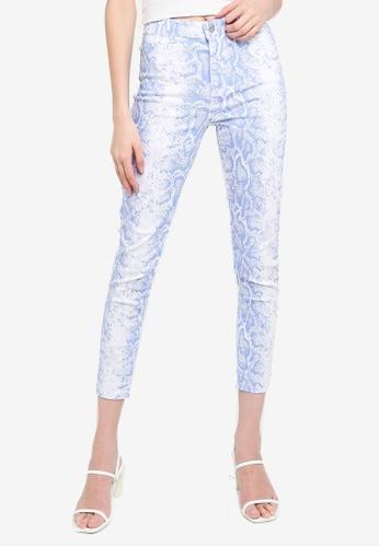 LC Waikiki blue Figured Skinny Trousers 73FF7AABA11468GS_1