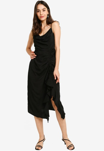 Forever New black Chelsea Cowl Neck Slip Dress 92A6CAA9CA29D4GS_1