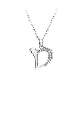 Glamorousky white 925 Sterling Silver Simple Personality English Alphabet D Pendant with Cubic Zirconia and Necklace 982A3ACA8F281BGS_1