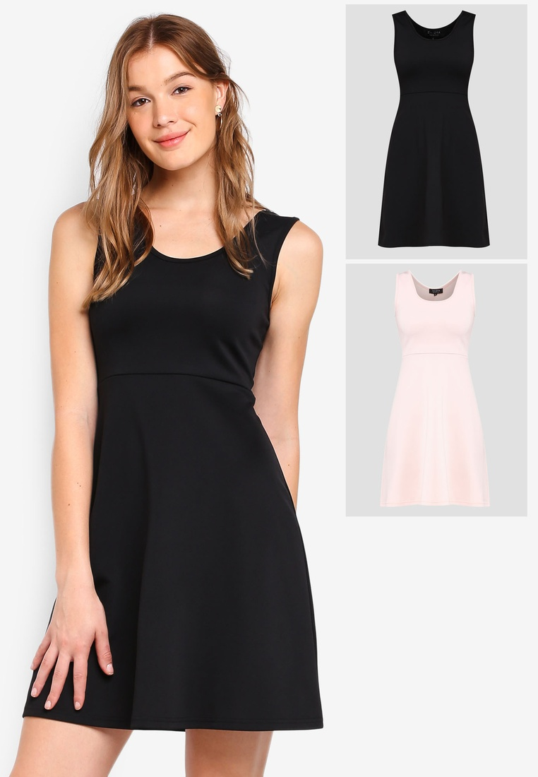 BASICS 2 Fit ZALORA Scoop Black Basic pack Blush amp; Dress Neck Flare rTqzfr