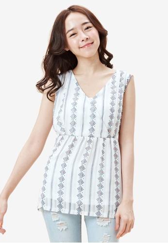 Tokichoi white Tribal Print Tie Back Top 6D84EAA35F4498GS_1