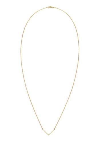 925 V型純銀鍍金項鍊, 飾品esprit地址配件, 項鍊