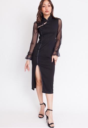 Hook Clothing black Sheer Sleeve Cut Out Cheongsam 3C8A2AAE9BA1A7GS_1