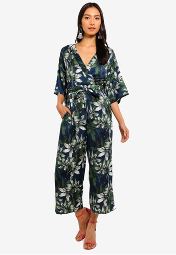 10a836960 Buy Mela London Floral Printed Kimono Sleeve Jumpsuit   ZALORA HK