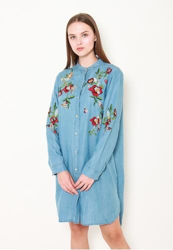 Leline Style blue Amelia Embroidery Denim Dress 9DBA6AA9D58490GS_1