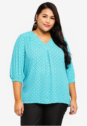 Ex'otico green Plus Size 3/4 Sleeve V-Neck Blouse 42068AAAB2D1EFGS_1