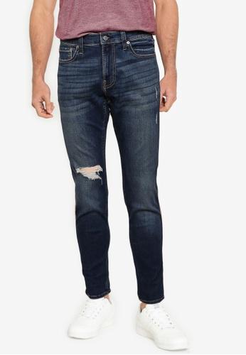Hollister blue Skinny Rip Jeans F7686AA61318F8GS_1