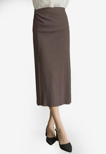 Tokichoi grey Twist Front Midi Skirt With Slit FBF69AA625F7E9GS_1