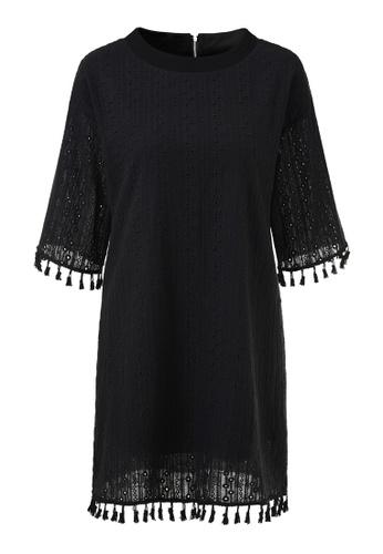 hk-ehunter black Tassel Hem Hollow Loose Dress D6615AAC483598GS_1
