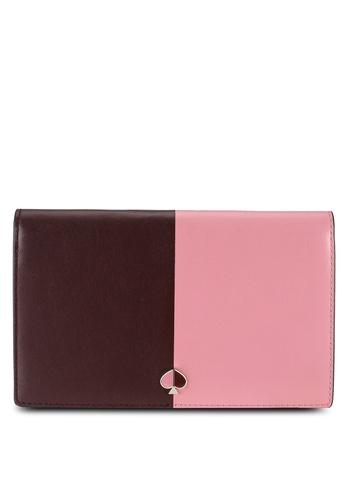 kate spade new york pink Nicola Bicolor Clutch Wallet (cv) 56BF4AC1A9DE55GS_1