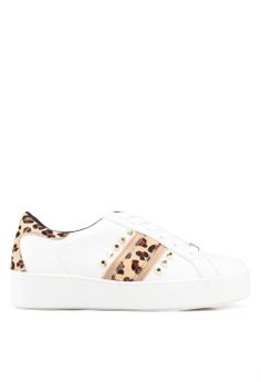 bc509cb7a2d2 River Island white Rainbow Leopard Stripe Stud Lace Up Sneakers  E0A18SH22BFC0CGS 1