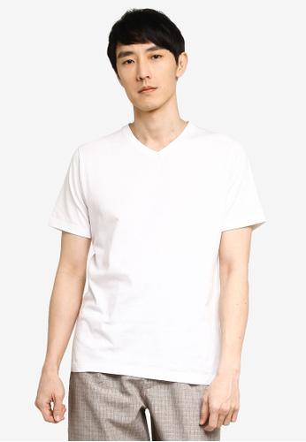 GLOBAL WORK white V Neck T-Shirt F3B30AAE162B8CGS_1