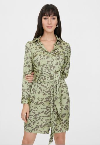 Pomelo green Mini Leopard Print Tie Waist Dress - Green 5AF1BAA7676E35GS_1