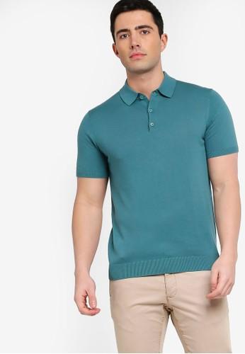 MANGO Man green and blue Knit Cotton Polo Shirt 84DE5AA0736CFAGS_1